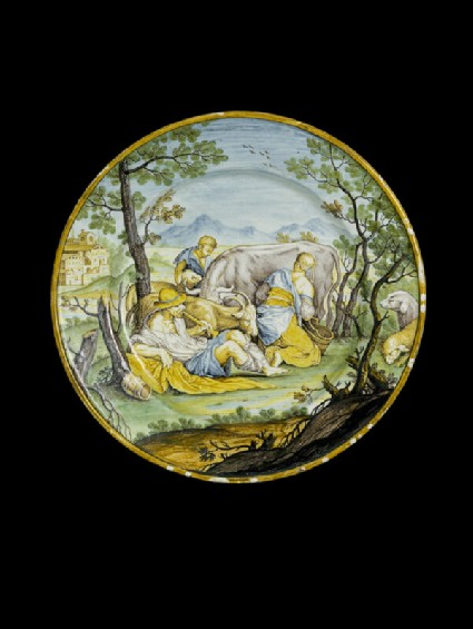 Plate with a pastoral scene