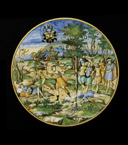 Plate with The Story of Erysichthon, and arms of Scheuffelin