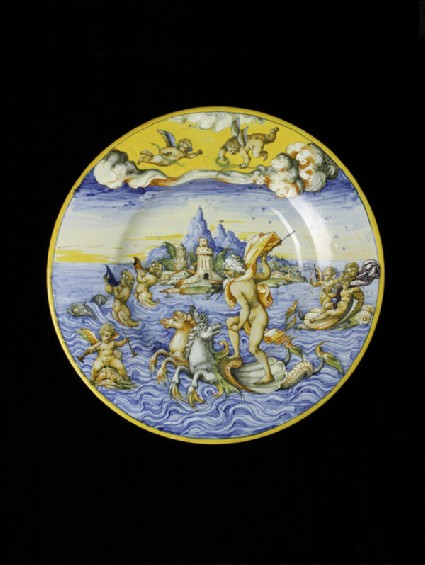 Large plate with Neptune and Galatea