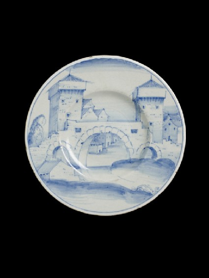 Plate with a fortified bridge and townscape