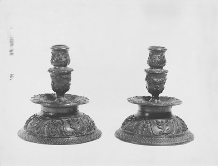 Candlestick with broad domed and ogee base, one of a pair