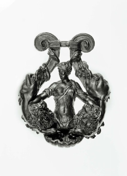Lyre-shaped door-knocker with woman and two lions