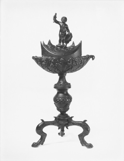 Boat-shaped oil-lamp and stand