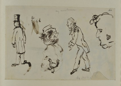 Sketch of Figures, Heads and a Chicken