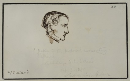 Recto: sketch of John Everett Millais in profile <br />Verso: sketch of a man in profile, possibly the Reverend W. Gray