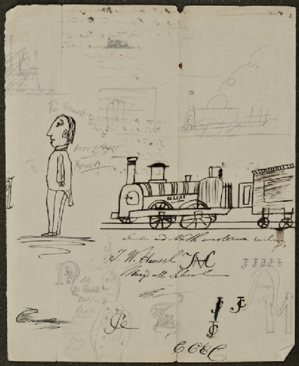 Sheet of Sketches: Trains, Male Figure, Notes