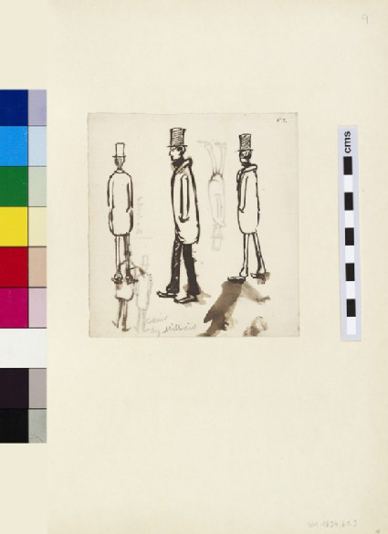 Recto: three Sketches of a Man in an Overcoat and Top Hat