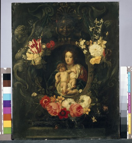A Garland of Flowers surrounding a Medallion of the Virgin and Child