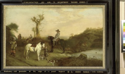 Two Huntsmen and Peasants beside a Pond