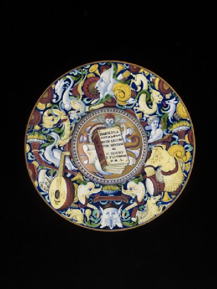 Plate with Fortnum's catalogue painted in centre