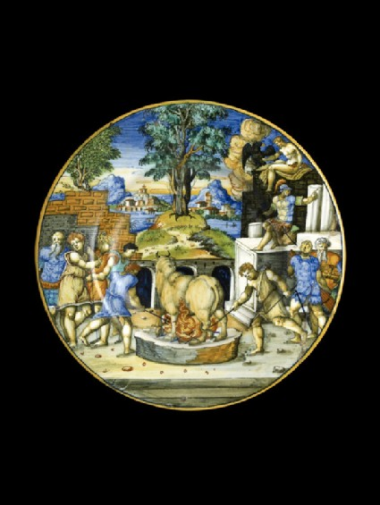 Plate with the bull of Perillus, arms of Lancierini