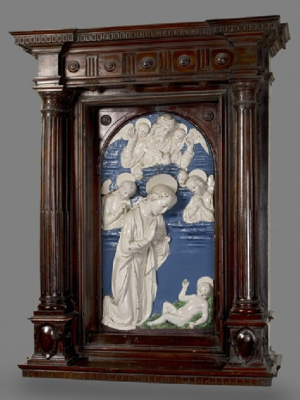 Pair of panels with Angels and Instruments of the Passion