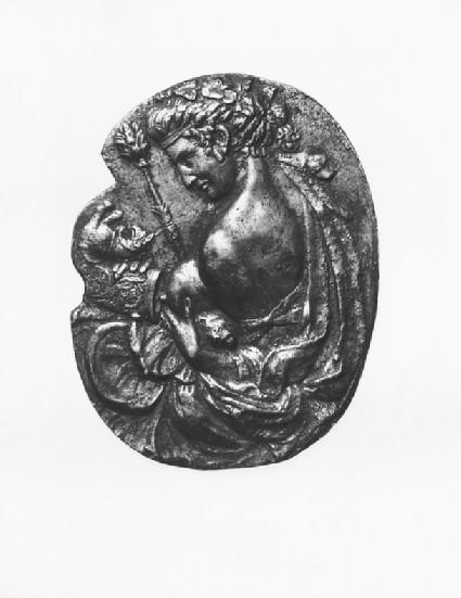Bacchante squeezing her breast and holding a rhyton