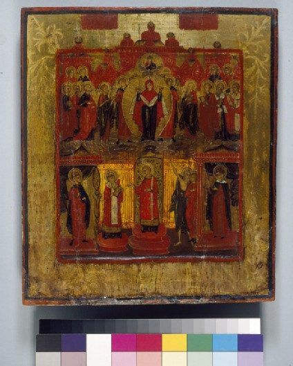 Icon of Pokrov (The Virgin of Refuge) with Saints