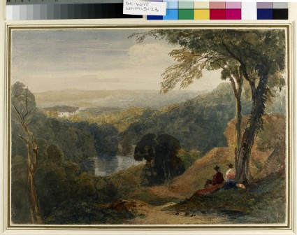 Wooded Landscape with two Resting Travellers and a Distant View of Lowther Castle