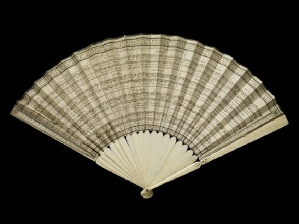 Folding fan with engraving of musical scores of eighteenth century dances adapted for Court Ball