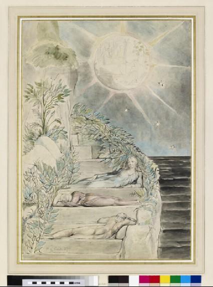Dante and Statius sleeping, Virgil watching (illustration to the 'Divine Comedy', Purgatorio XXVII)