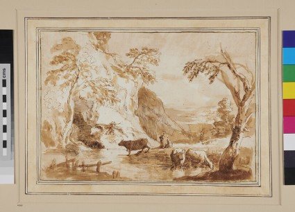 Cattle watering in a Pool, on the farther side of which is a steep Cliff with occasional Trees