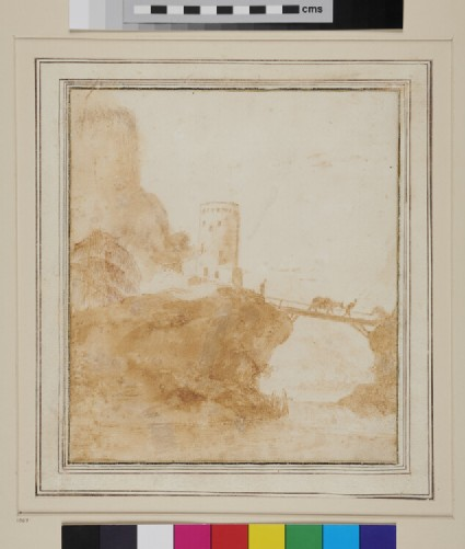 Landscape with a Tower standing near the Base of a Cliff, and with a wooden Bridge, on which is a Man leading a Mule, spanning a Ravine