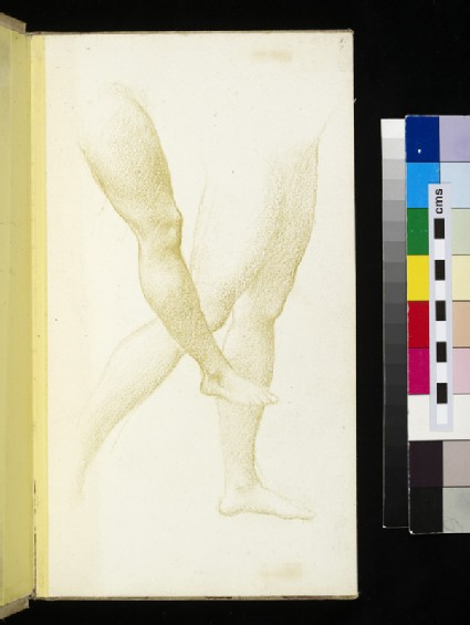 Recto: sketch of three legs <br />Verso: sketch of two legs seen from behind