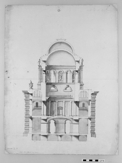Design for the Radcliffe Library: section of a circular or polygonal building attached to the Selden End, showing sculpture