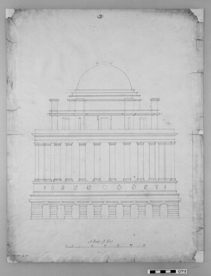 Design for the Radcliffe Library: elevation of a circular building on a square base, attached to the south side of the Schools Quadrangle