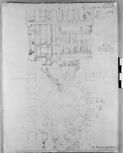 Design for the Radcliffe Library: sketches for the ground and first-floor plans, elevation and section of a circular building on a square base, attached to the south side of the Schools Quadrangle