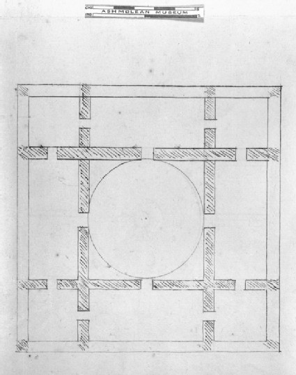Recto: Design for the Radcliffe Library: Ground Plan and first-floor Plan