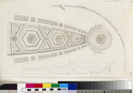 Design for an upright of the plaster fret-work of the dome of the Radcliffe Library