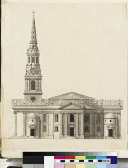 Design for the side upright of the 'First Round Draught' of St Martin in the Fields, London