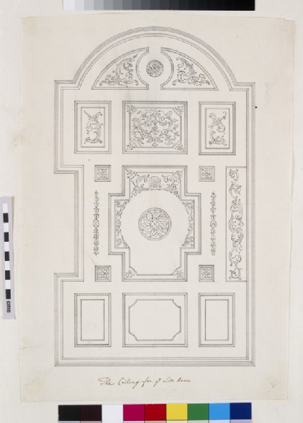 Drawing for the coffered ceiling and coffers under the gallery of the Senate House at Cambridge