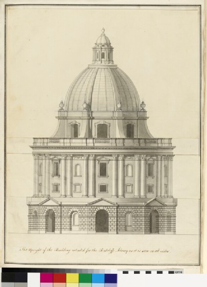 Design for the façade of the final scheme of the Radcliffe Library