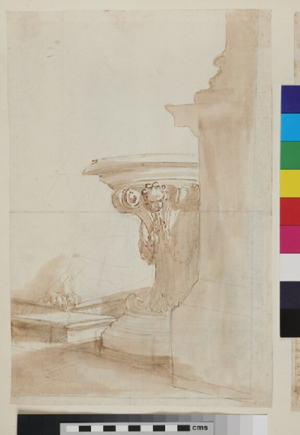 Recto: sketch of a formal monumental table against the silhouette of the base of a column and pedestal <br />Verso: a sligh sketch of architectural elements