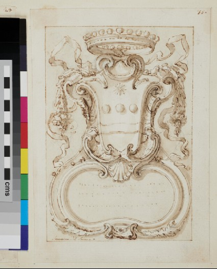 Recto: design of the arms of a noble family:  