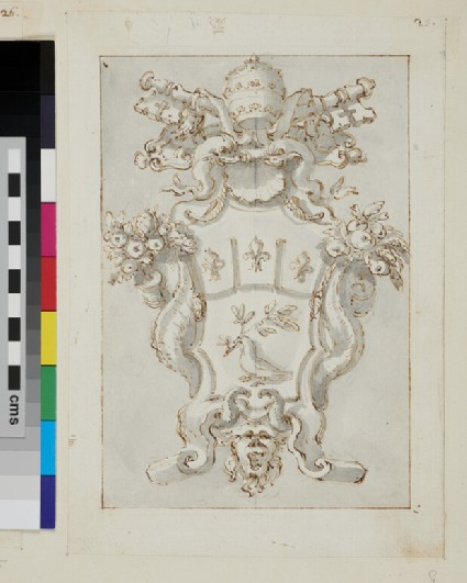 Recto: design of the arms of Pope Innocent X, Giovanni Battista Pamphilj  Verso: slight sketches