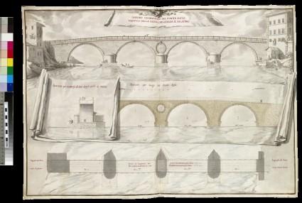 Rendering of a 'Disegno geometrico del Ponte Sisto veduto dalla parte, che guarda il Palatino'