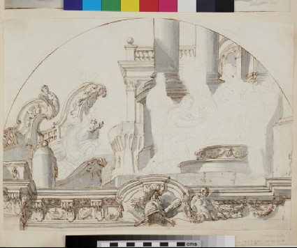 Sketch of the architectural elements and part of the frame of a semicircular wall painting