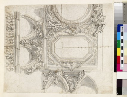 Sketch of the wall cornice, cove and ceiling panels of a monumental room