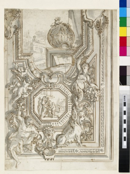 Sketch of one half of the elaborate frame and panels of the ceiling decoration of a monumental room