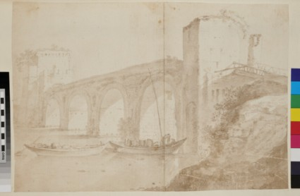 A bridge and two tower gates, perhaps Ponte Milvio in Rome