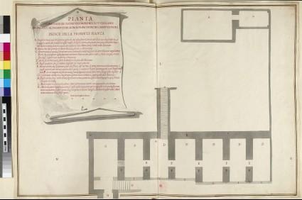 Drawing of the 'Pianta di una parte del Teatro di Pompeo ne i Sotterranei del Palazzo del signor prencipe Pio in Campo di Fiori'