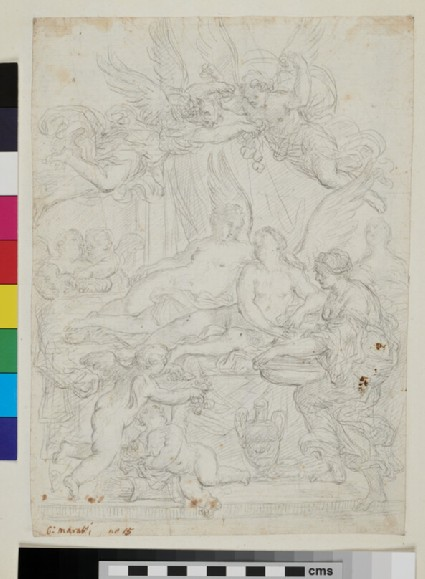 Recto: sketch of Cupid and Psyche 