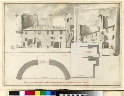 Rendering of a 'Alzata geometrica, ed in prospettiva delle Terme di Marco Agrippa, dette presentemente l'Arco della Ciambella'