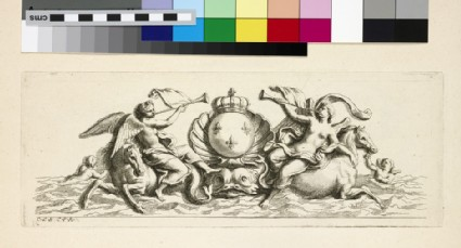 Design for a fountain showing two angels riding horses and Louis XIV's coat of arms, from the series 'Recueil de fontaines et de frises maritimes'