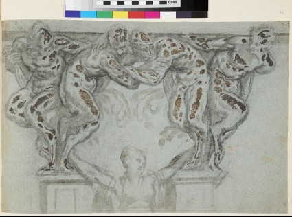 Design for a wall fountain with four satyrs with a woman below
