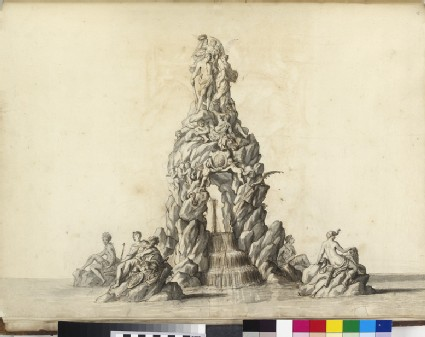 Design for an ornamental fountain, with figures of the four continents, Prudence, Hercules and Fame, and two putti supporting the royal arms
