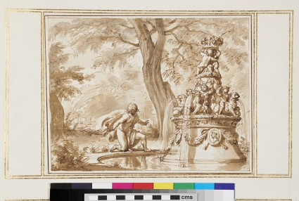 Ornamental fountain in a landscape