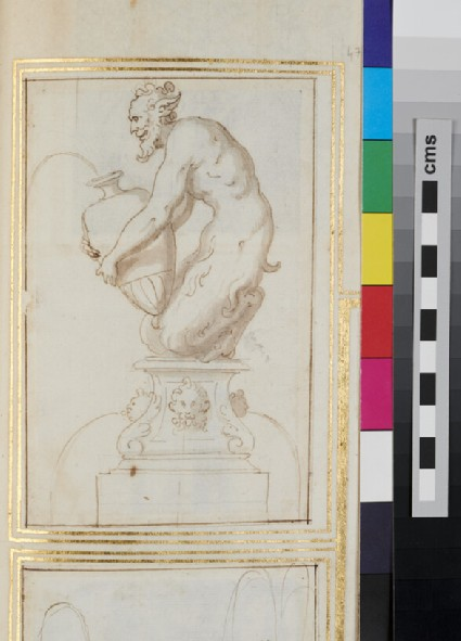 Design for an ornamental fountain witha satyr holding a vase