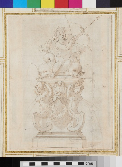 Design for an ornamental fountain with Cupid seated on marine creatures and drawing the bow