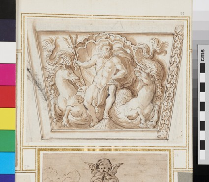 Design for an ornamental frieze (possibly) with Neptune
